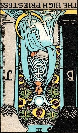 the high priestess-reversed position